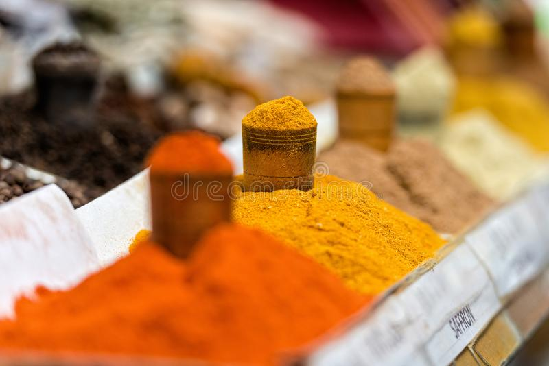 Georgia, Tbilisi, The central city market. Traps with different spices.  stock image