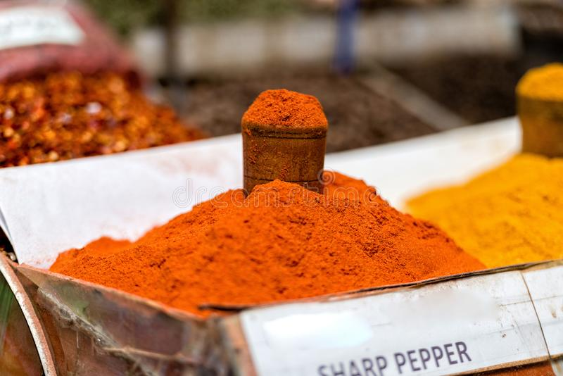 Georgia, Tbilisi, The central city market. Traps with different spices.  stock photo
