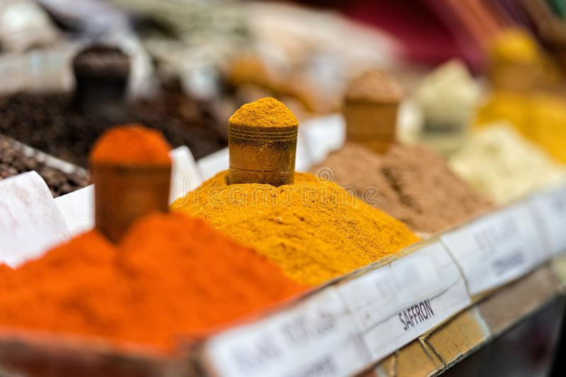 Georgia, Tbilisi, The central city market. Traps with different spices.  royalty free stock photos