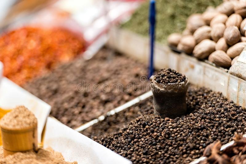 Georgia, Tbilisi, The central city market. Traps with different spices.  royalty free stock photography