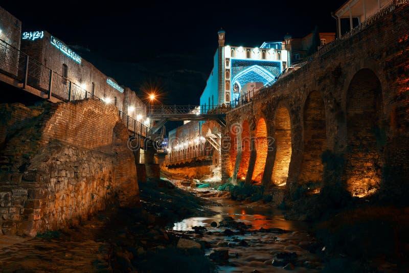 Georgia, Tbilisi - 05.02.2019. - Night time in Tbilisi old town Abanotubani, sulphur baths district stock image
