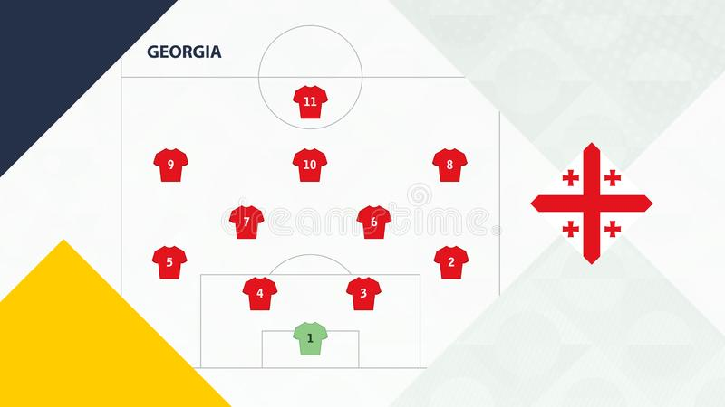 Georgia team preferred system formation 4-2-3-1, Georgia football team background for European soccer competition.  stock illustration