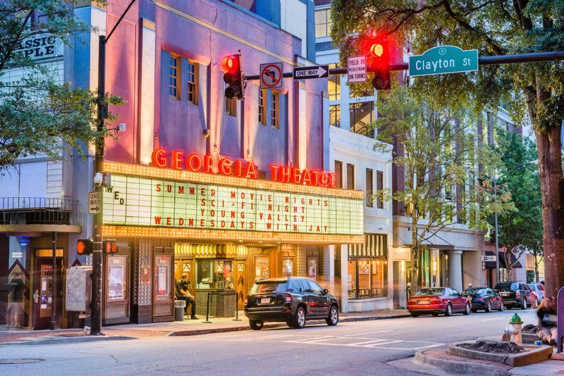 Georgia Theatre, Athens, Georgia, USA. ATHENS, GEORGIA - AUGUST 3, 2017: The historic Georgia Theatre at dusk. The venue has featured many prominent acts from royalty free stock photography
