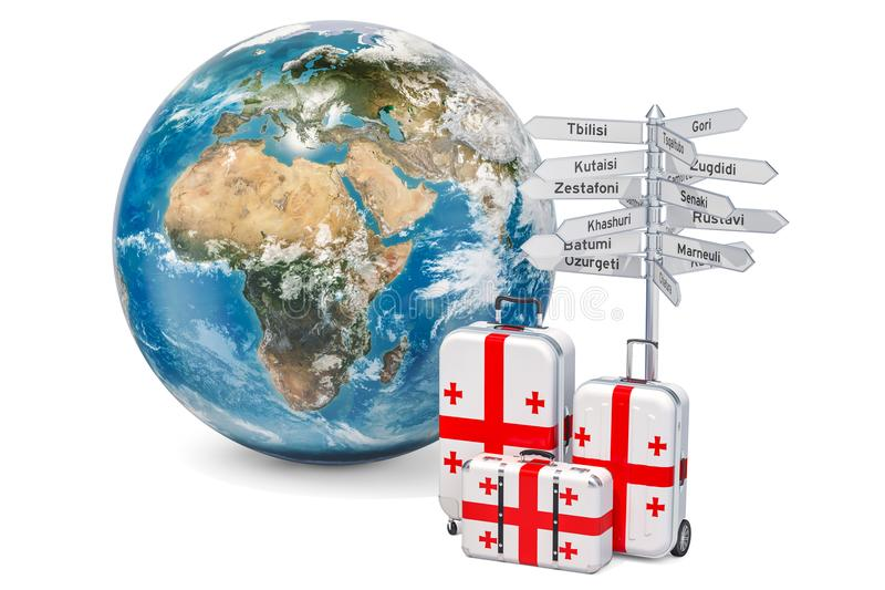 Georgia travel concept. Suitcases with Georgian flag, signpost a. Nd Earth globe. 3D stock illustration