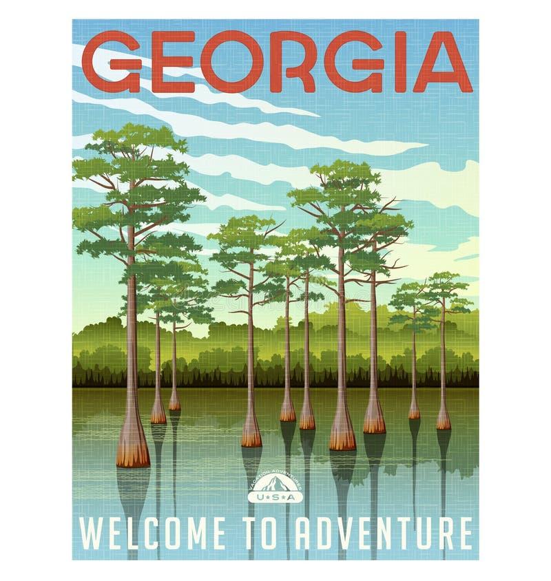 Georgia travel poster or sticker vector illustration