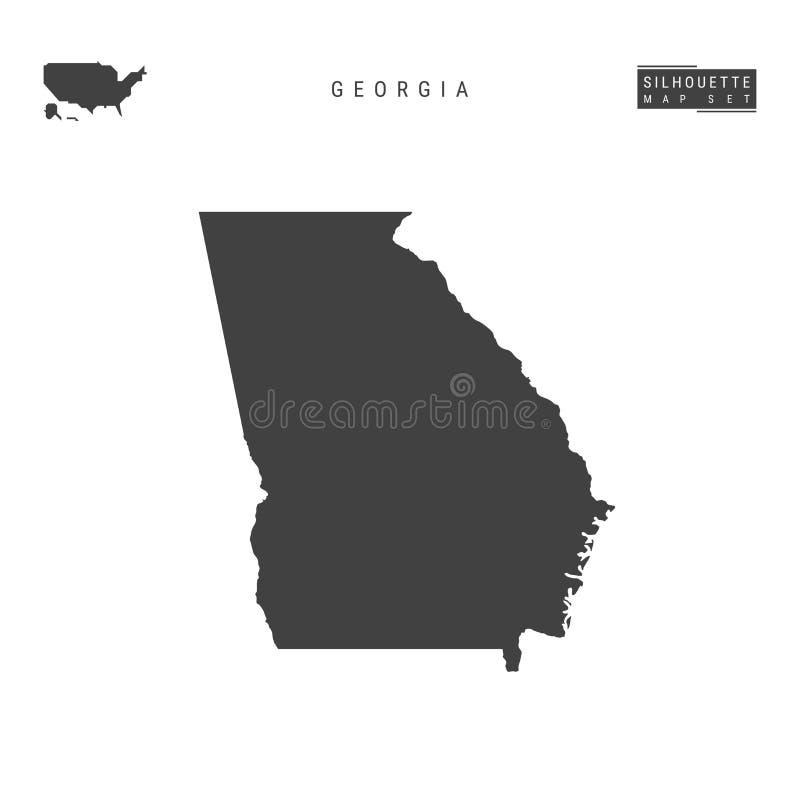 Georgia USA påstår vektoröversikten som isoleras på vit bakgrund Hög-specificerad svart konturöversikt av Georgia stock illustrationer