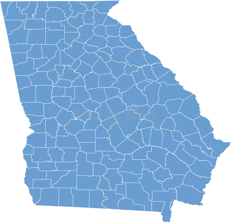 Georgia USA State Map By Counties Royalty Free Stock Photography - Usa map with counties
