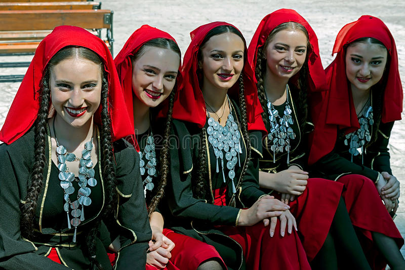 Georgian group of girls in folk costume royalty free stock photography