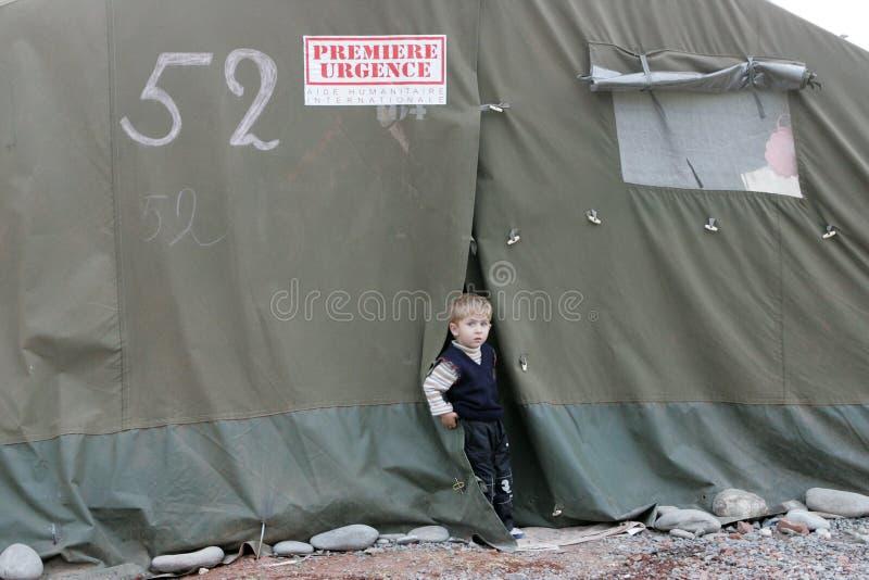 Georgian refugees in Gori royalty free stock images