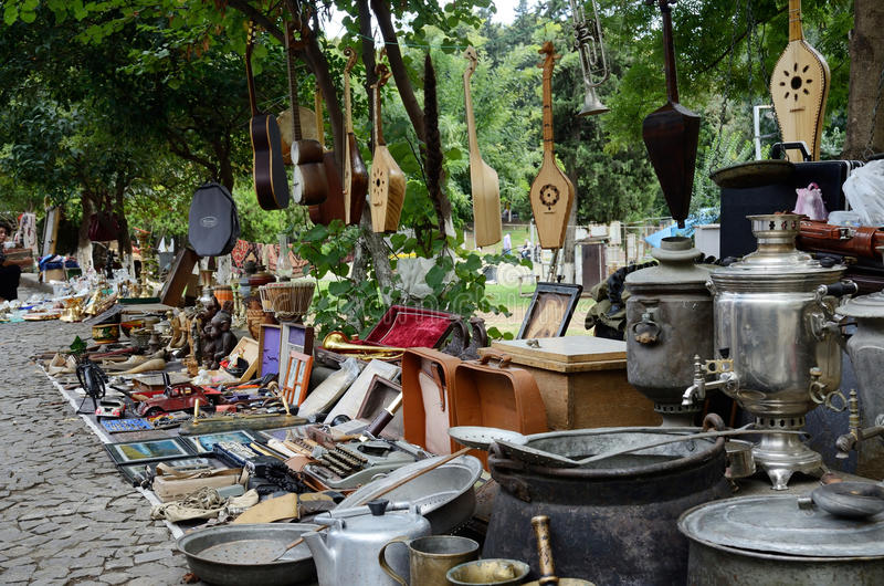 Georgia Tbilisi Flea Market Stock Photos Georgia Tbilisi: Georgian Souvenirs And Retro Items Sold On The Dry Bridge