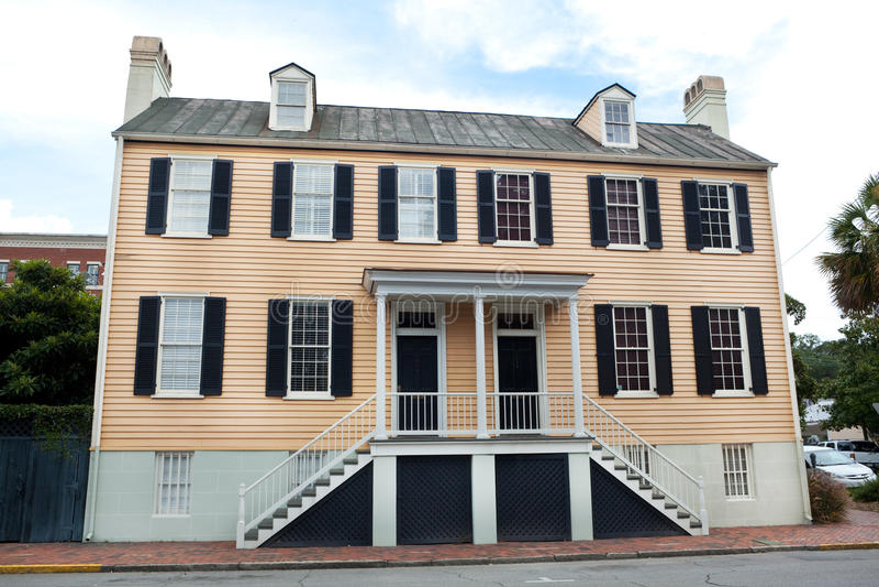Georgian Style Duplex House in Savannah Georgia royalty free stock photos