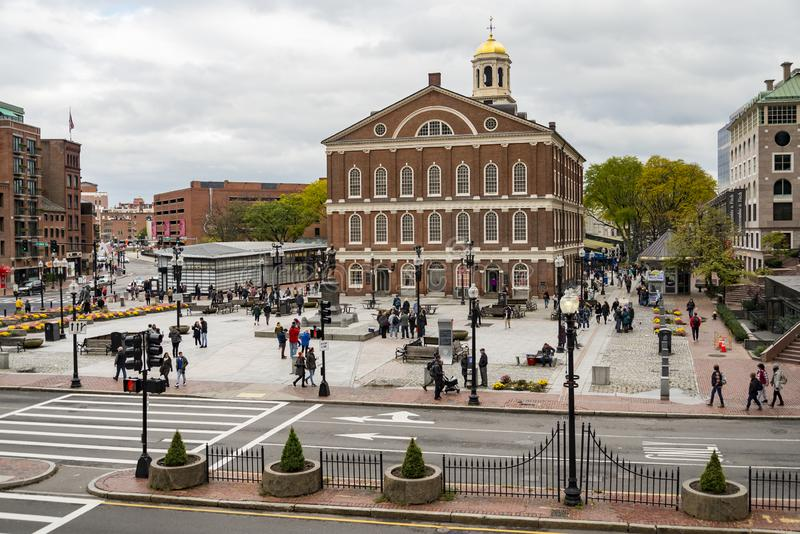 The Georgian-style Faneuil Hall at the Quincy Market in Boston, Massachusetts, USA royalty free stock image