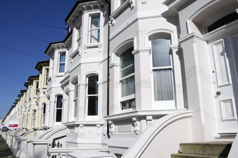 Georgian terraced houses street brighton uk stock images