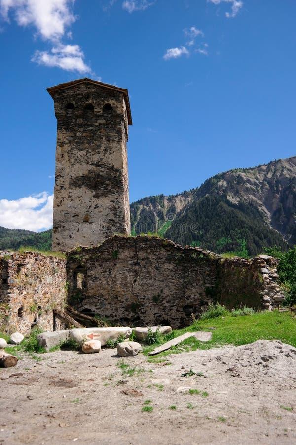 Georgian watch tower. Ancient georgian watch tower in the Caucasus stock photos
