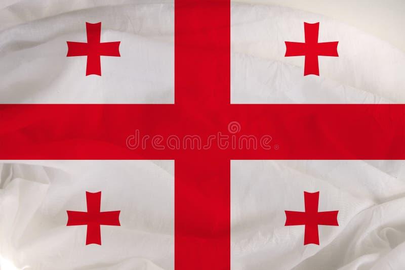 Georgiens nationalflagga, en symbol för turism, invandring, politik royaltyfria bilder