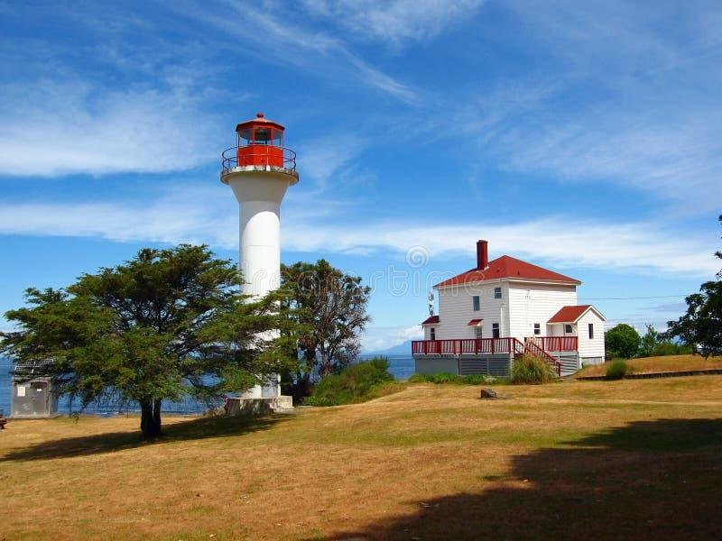 Georgina Point Lighhouse, parque nacional de las islas del golfo, Mayne Island, Columbia Británica fotos de archivo