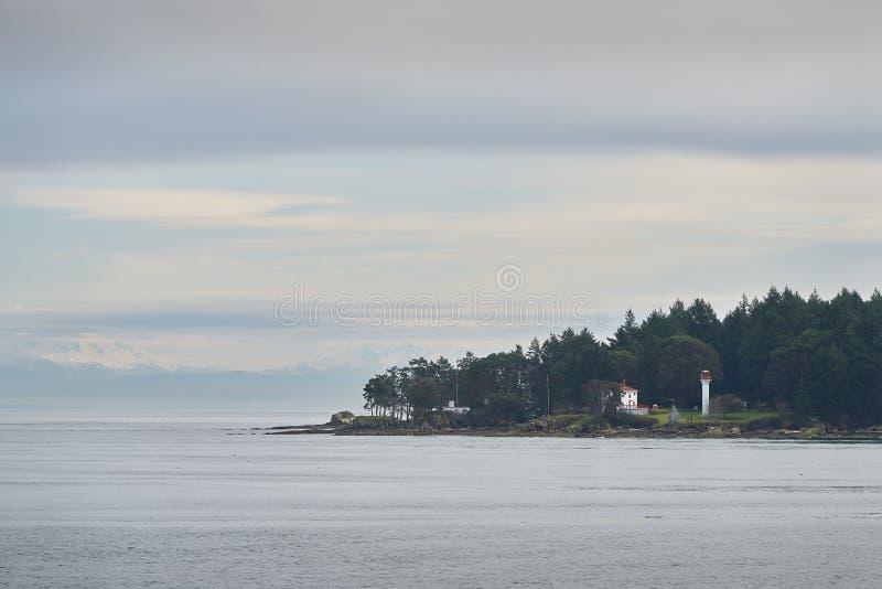 Georgina punktu latarnia morska, Mayne wyspa, BC obrazy royalty free