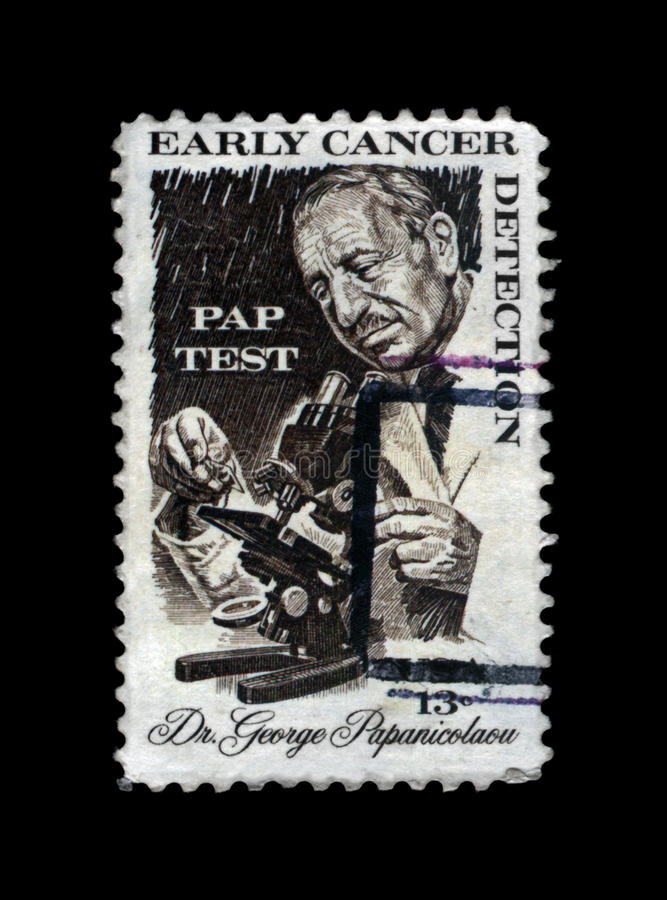 Georgios Papanikolaou, greek pioneer in cytopathology and early cancer detection, circa 1978. USA - CIRCA 1978: cancelled stamp printed in United States shows stock photos