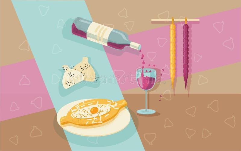 Georgisch voedselstilleven royalty-vrije illustratie