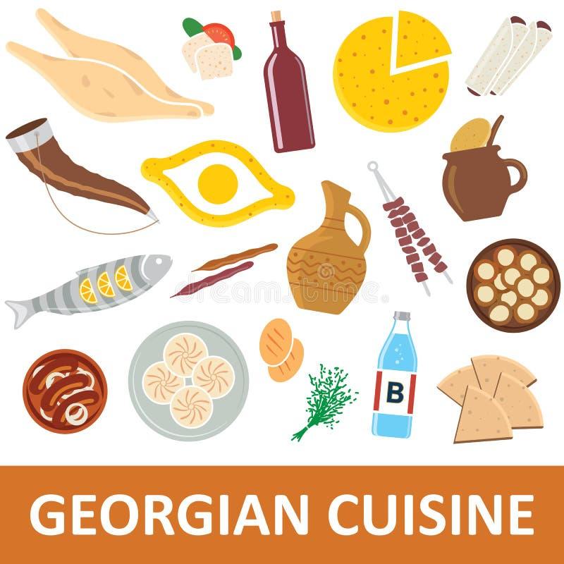 Georgische keuken vectorillustratie stock illustratie