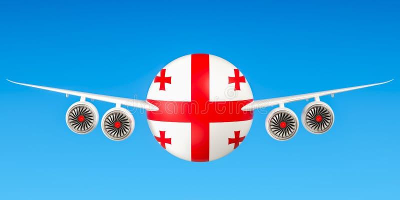 Georgische luchtvaartlijnen en het vliegen royalty-vrije illustratie
