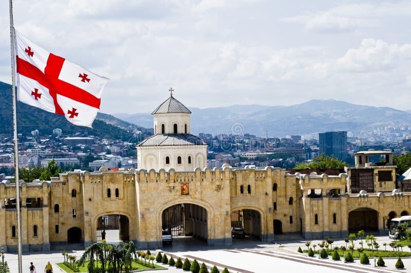 Georgische Markierungsfahne in Tbilisi lizenzfreies stockbild
