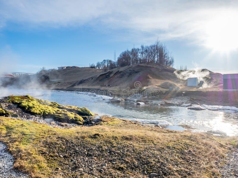 Geotermiczny gorącej wiosny basen w Iceland obrazy royalty free