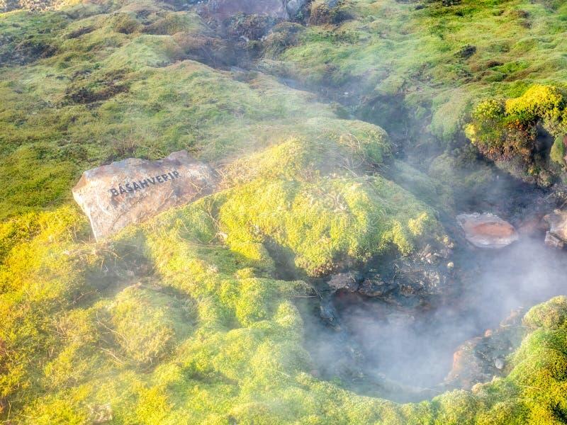 Geotermiczny gorącej wiosny basen w Iceland fotografia royalty free