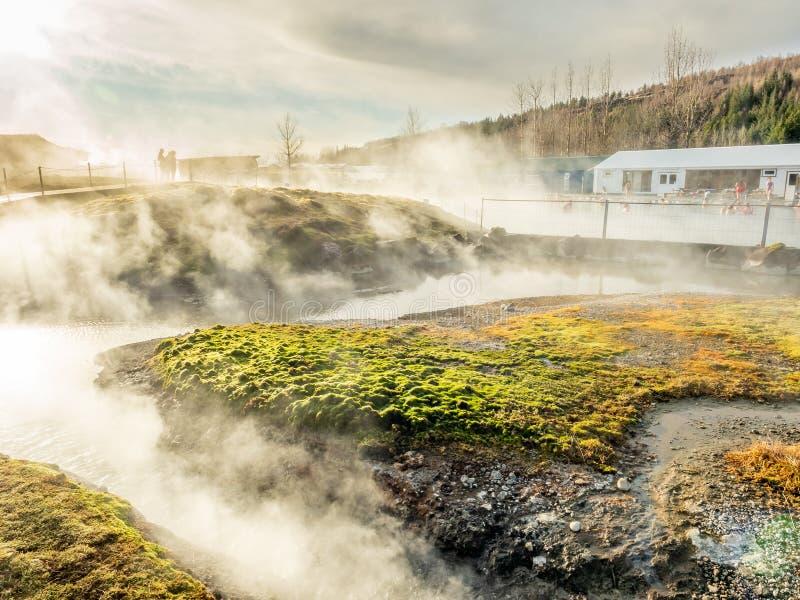 Geotermiczny gorącej wiosny basen w Iceland obraz stock