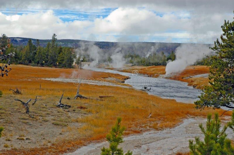 Geotermiczny krajobraz w Yellowstone parku narodowym fotografia stock