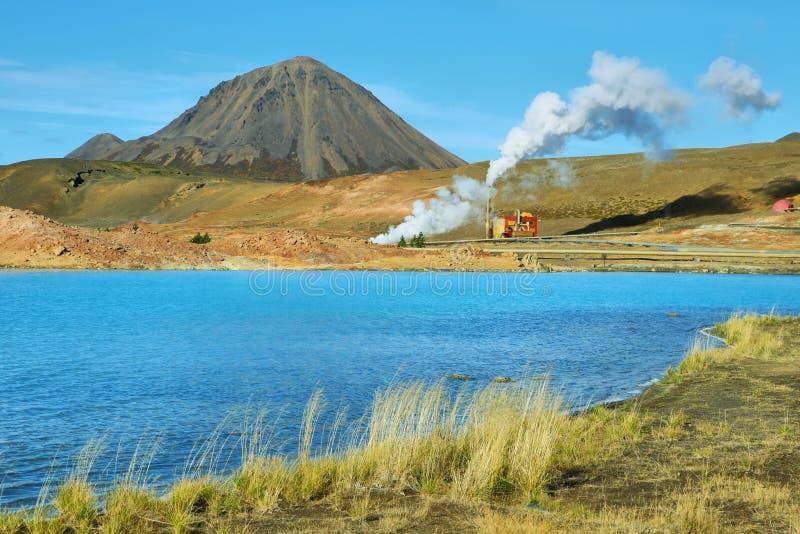 Geotermiczny krajobrazowy pobliski Jeziorny Myvatn obraz stock