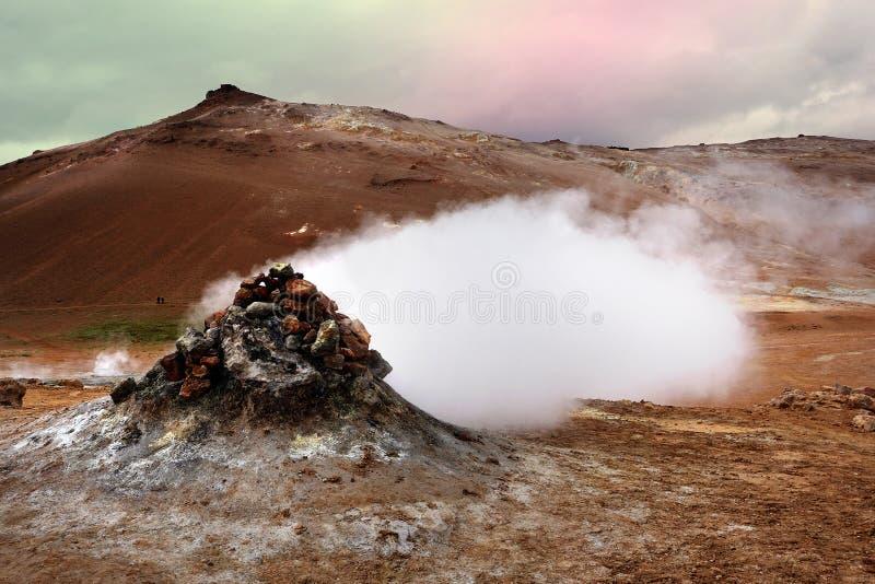 Geotermiczny teren Hverir Iceland blisko Jeziornego Myva zdjęcie royalty free