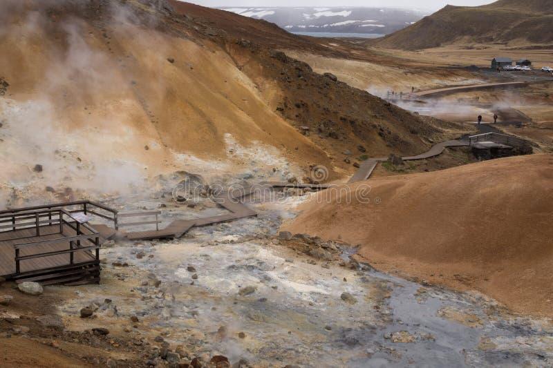 Geotermiczny teren, Seltún, Krà ½ suvik, Iceland zdjęcia royalty free