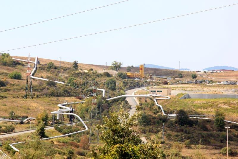 Geotermiskt driva produktionen, Larderello, Italien arkivbild