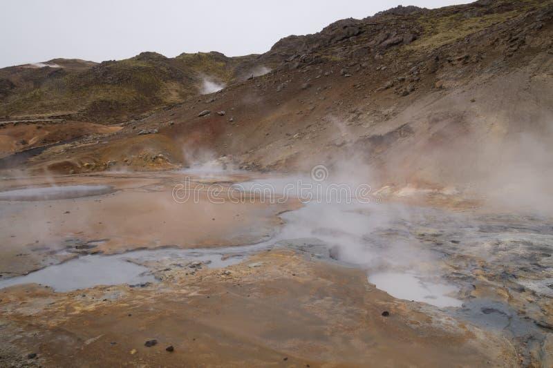 Geotermiskt område, Seltún, Krà ½suvik, Island arkivfoton