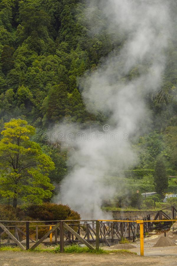 Geothermal activity in Furnas village, Sao Miguel, Azores, Portugal royalty free stock image