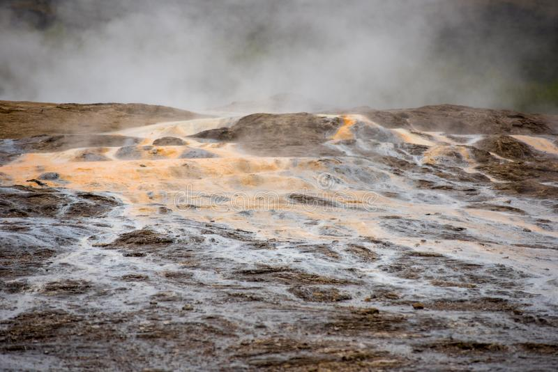 Geothermal activity in Hveragerdi, Iceland with hot springs royalty free stock images
