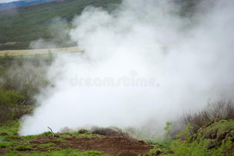 Geothermal activity in Hveragerdi, Iceland with hot springs royalty free stock image