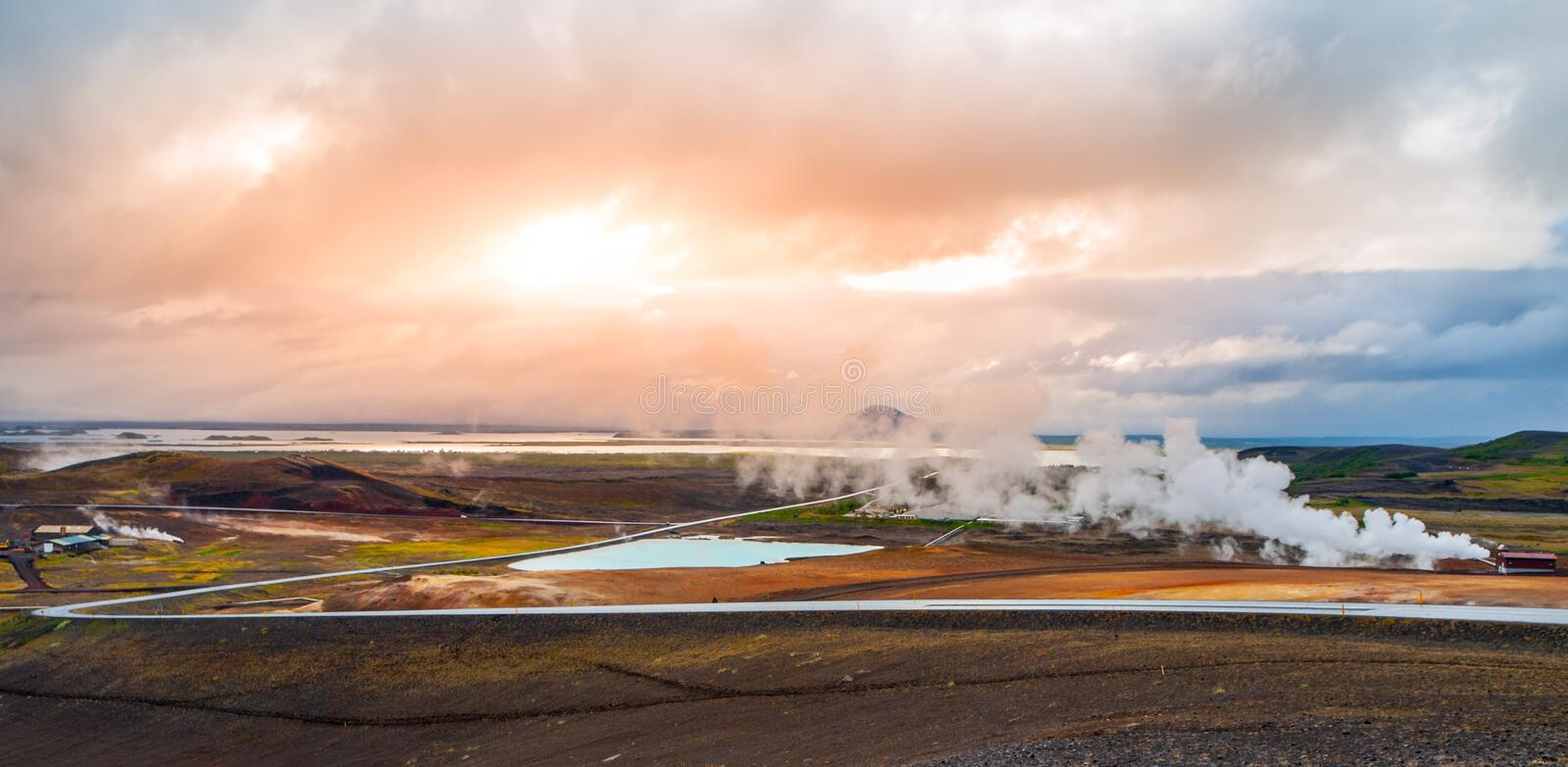 Geothermal activity with smoke at Myvatn Lake, Iceland stock images