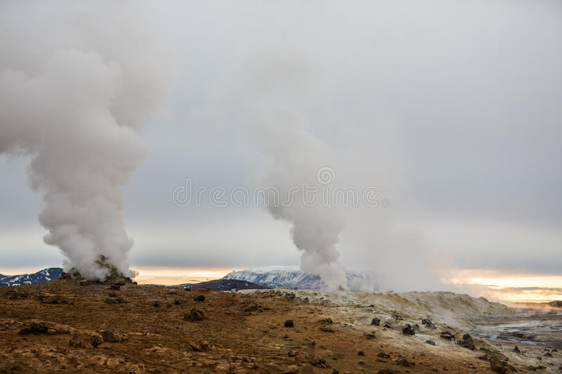 Geothermal activity in volcanic area in Iceland stock image