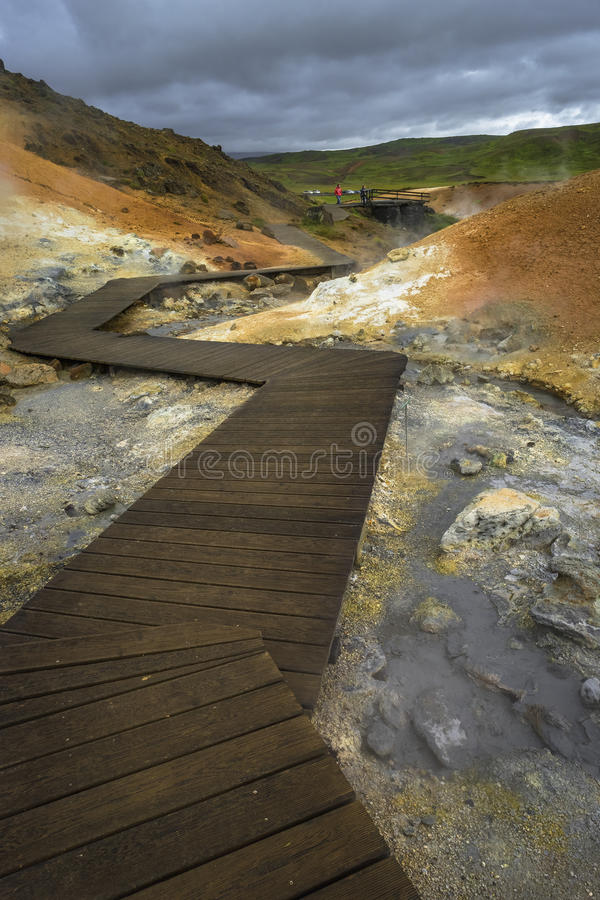 Geothermal area with hot springs on Iceland, summer stock images