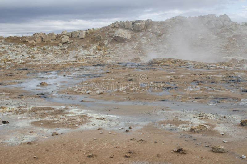 Geothermal area at Hverir in Iceland stock image
