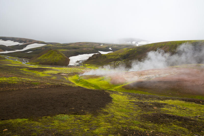 Geothermal area Landmannalaugar. Geothermal Area National Park Landmannalaugar. Iceland stock image
