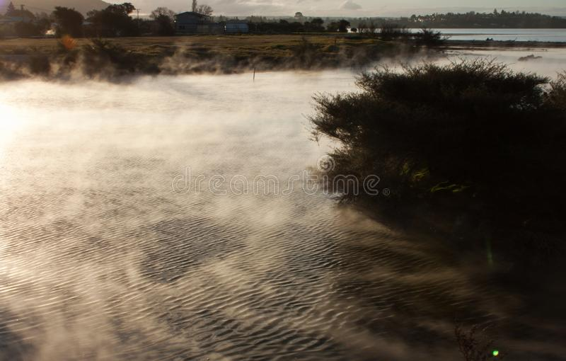 A geothermal area in a living Maori village in Rotorua in New Zealand. A geothermal area in a living Maori village, Ohinemutu, in Rotorua in the North Island in royalty free stock images