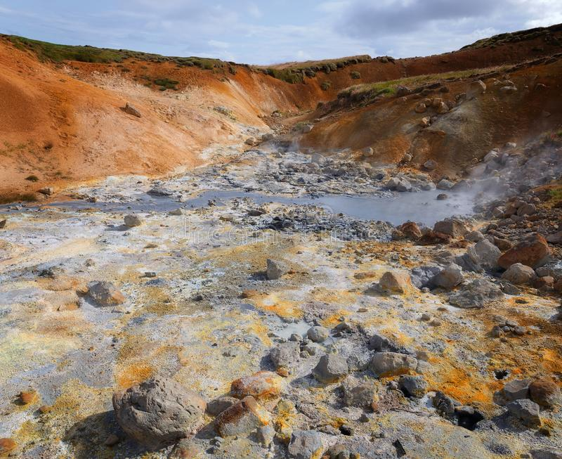 Geothermal area at Seltun, Iceland stock images