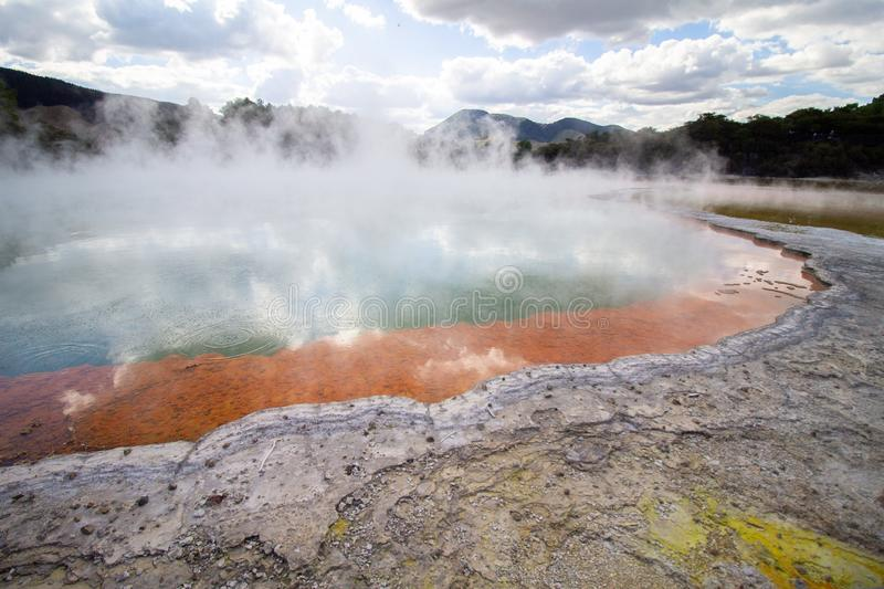 Geothermal area Wai-O-Tapu in New-Zealand hot water champage  pool stock photo
