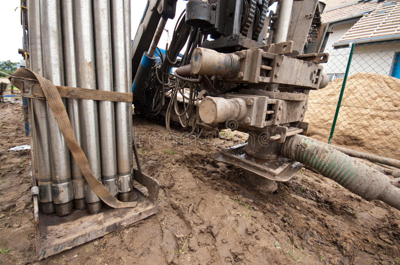 Geothermal drilling machine. Ready to operate. Source of ecology friendly energy for a private house royalty free stock photos