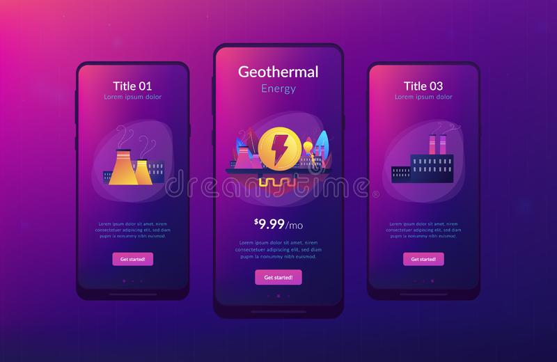 Geothermal energy app interface template. Eco friendly geothermal renewable energy plant and light bulb. Geothermal energy, renewable sources, enhanced royalty free illustration