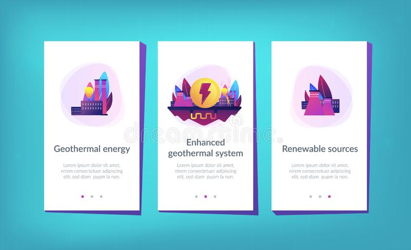 Geothermal energy app interface template. Eco friendly geothermal renewable energy plant and light bulb. Geothermal energy, renewable sources, enhanced vector illustration