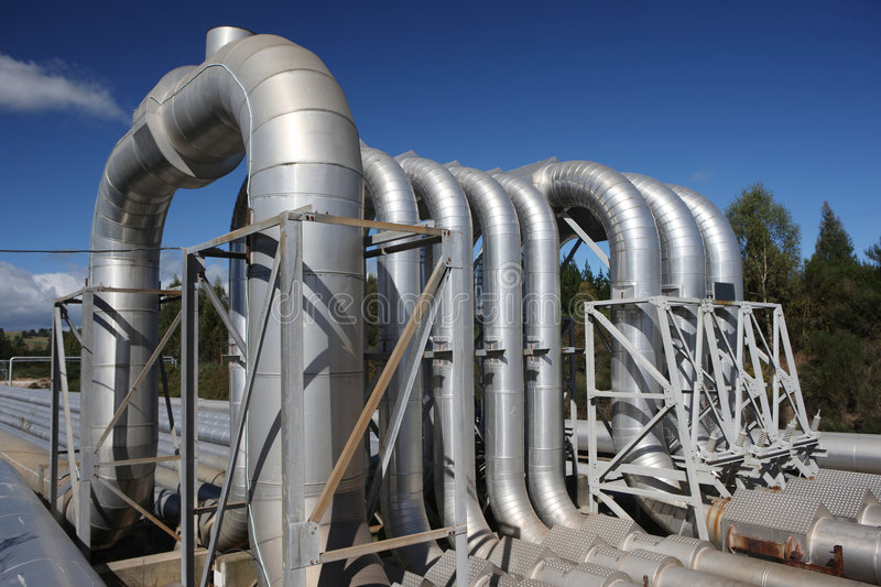 Geothermal Energy Steam Pipes stock image